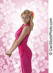 ładny, blondynka, dziewczyna, z, różowy strój, sylwetkowo