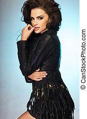ładny, brunetka, wwoman, posing.