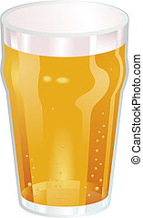 ładny, ilustracja, wektor, piwo, pół kwarty