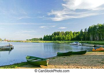 ładny, jezioro, krajobraz, z, żywy, niebo, w, lato