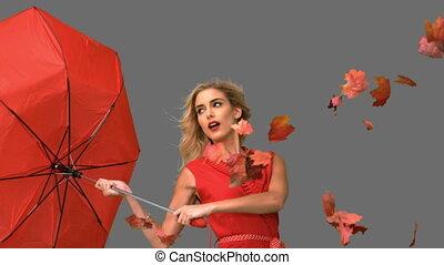 ładny, kobieta dzierżawa, niejaki, złamany, parasol