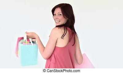 ładny, kobieta dzierżawa, shopping torby
