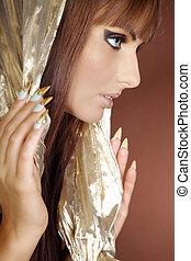 ładny, kobieta, w, cleopatra, styl