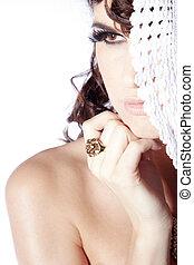 ładny, kobieta, z, biżuteria