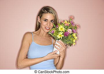 ładny, kobieta, z, flowers.