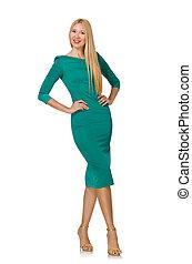 ładny, młoda kobieta, w, zielony strój, odizolowany, na...