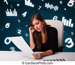 ładny, młody, kobieta interesu, posiedzenie na kasetce, z, wykresy, i, statystyka