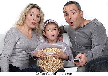 ładny, movie., rodzina, oglądając