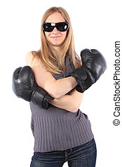 ładny, osóbka, uśmiechanie się, z, boks, gloves., odizolowany, na białym, tło