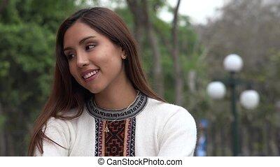 ładny, peruwiański, kobieta, chodząc, niejaki, sweter