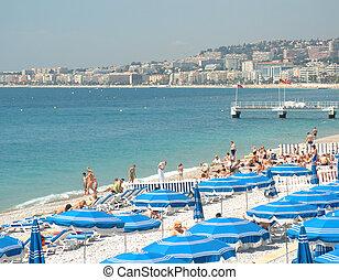ładny, plaża, w, francja