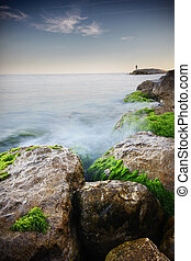 ładny, seascape., długa ekspozycja