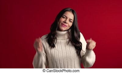 ładny, szczęście, tło., uśmiechanie się, sweter, łacina, ...