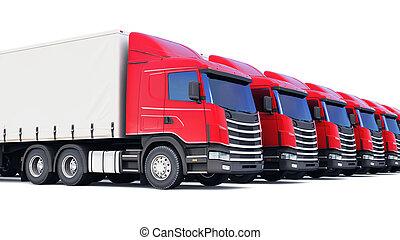 ładunek, biały, odizolowany, ciężarówki, hałas