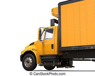 ładunek, cięty, strzał, nowoczesny, -, żółty, wózek
