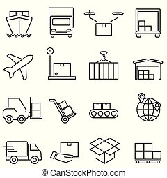 ładunek, kreska, logisty, okrętowy, ikony
