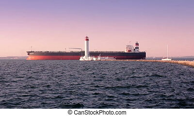 ładunek, latarnia morska, port, morze, statek, chwilowy