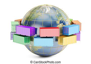 ładunek, pojęcie, globalny, okrętowy, doręczenie, przedstawienie, 3d