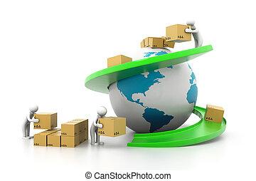 ładunek, przewóz, szeroki, świat