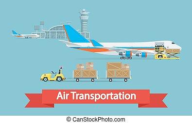 ładunek, styl, przewóz, illustration., płaski, concept., powietrze