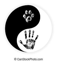 łapa, symbol, yin, ręka, wektor, yang
