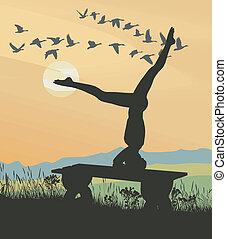 ława, natura, gimnastyka