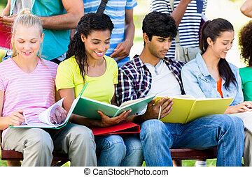 ława, studenci, badając