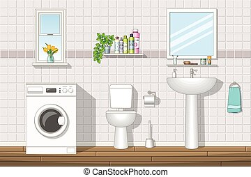 łazienka, ilustracja
