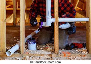 łazienka, instalowanie, plastyczna rurka, pvc, zatonąć, pod, instalacja wodociągowa, kontrahent