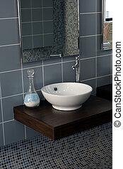 łazienka, -, szczegół, lustro