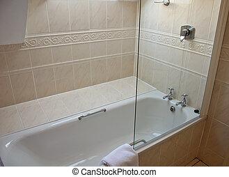 łazienka, ubikacja, nowoczesny, lekki, wewnętrzny