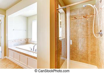 łazienka, w, miękki, kość słoniowa, z, szklane drzwi, przelotny deszcz