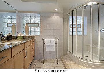 łazienka, z, szkło, przelotny deszcz