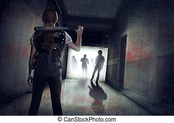 łopatka, nietoperz, jej, młody, przeciw, zombie, baseball, asian, dzierżawa, dziewczyna
