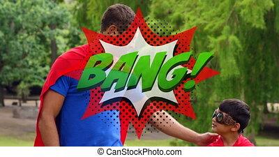 łoskot, superhero, tekst, syn, przeciw, bańka, tatuś, mowa, ...