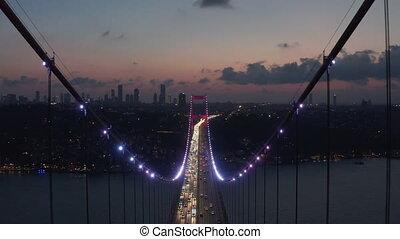łuk, naprzód, wóz, czerwony, antena, truteń, istambuł, oświetlany, noc lekka, przez, handel, epiczny, laleczka, bosphorus, most