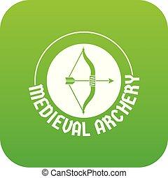 łuk, wektor, zielony, strzała ikona