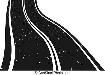 łukowaty, chodzenie, odległość., droga, asfalt