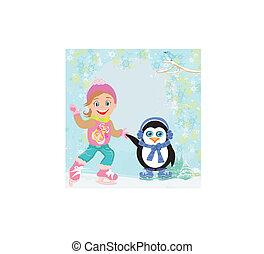 łyżwiarstwo, dziewczyna, lód, pingwin