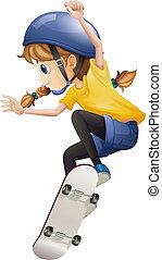 łyżwiarstwo, kobieta, młody, energiczny