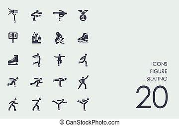 łyżwiarstwo, komplet, figura, ikony
