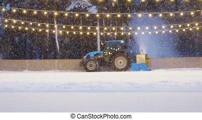 łyżwiarstwo, lód, traktor, resurfacer, ślizgawka