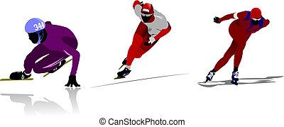 łyżwiarstwo, silhouettes., wektor, barwny, ilustracja