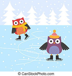łyżwiarstwo, sprytny, lód, sowy