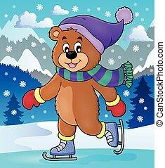 łyżwiarstwo, wizerunek, niedźwiedź, temat, 2, lód