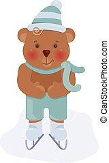 łyżwiarstwo, zabawny, szczeniak, niedźwiedź