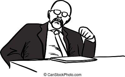 łysy, dyrektor, pokaz, jego, pięść, wektor, ilustracja, rys, ręka, pociągnięty, z, czarnoskóry, kwestia, odizolowany, na białym, tło