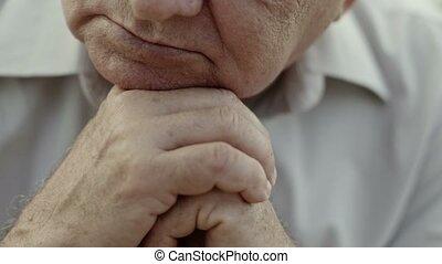 łysy, loo, smutny, portret, starszy człowiek