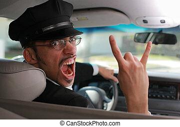 őrült, chauffeur.
