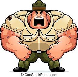 őrmester, ordítás, fúr, karikatúra